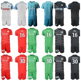 cf3cd22c9 18 19 Season Goalkeeper Marseille Soccer 30 Steve Mandanda Jersey Set 16  Yohann Pele 1 Romain Cagnon 40 Escales Football Shirt Kit Uniform