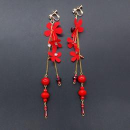 Clip Pendants Australia - Flower Pendant Rhinestone Clip on Earrings Women Bride Wedding Jewelry new