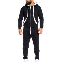Foot Jumpsuits Australia - Men's 2019 Spring autumn Hoodie Unisex Jumpsuit One-piece garment Non Footed Pajama Playsuit zipper solid color Clothing