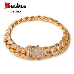 "copper bracelets men Australia - 12mm Men Zircon Curb Cuban Link Bracelet Hip Hop Jewelry Gold Silver Thick Heavy Copper Material Iced Cz Chain Bracelet 8"" SH190713"