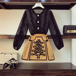 girls ruffle pant suits 2019 - 2019 New Fashion Court Style Ruffles Chiffon Shirt + Floral Skirt Vintage Girls Two-piece Set Women Mini Skirts Suit Fem