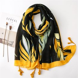 red black scarf cottons Australia - 180*90cm Spring summer new cotton scarf Black yellow frame retro style print women scarf sunscreen shawl