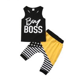 Double Leggings Australia - 2018 Newborn Striped Kids Baby Boy Cotton Sleeveless Boss Black Vest Tops+Harem Striped Pants Leggings Summer Set