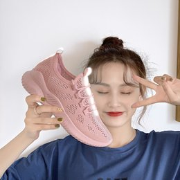 $enCountryForm.capitalKeyWord Australia - Socks Shoes Women's New Springy Flying Weaving Sports Shoes for Summer 2019 Women's Breathable Daddy Shoes Korean Version Baitie Small White