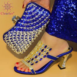 $enCountryForm.capitalKeyWord Australia - High Quality African Women Wedding Shoes and Bag Set Decorated with Rhinestone Wedding Shoe and Bag Sets Italian High Heels Shoe