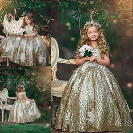 Sparkly ball gown girl dreSSeS online shopping - Sparkly Gold Sequins Little Miss Girl Pageant Dress Big Bow Back Ball Gown Shiny Sequined Kids Birthday Party Gowns