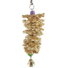 $enCountryForm.capitalKeyWord UK - Bird Parrot Toy with Bell Natural Wooden Grass Chewing Bite Hanging Cage Swing Climb Chew Toys Home Pet Supplies