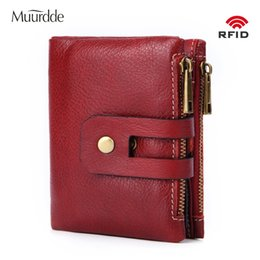 coin double Australia - Muurdde Genuine Leather Women Wallet Female Short Wallets Double Zipper Coin Purse Small ID Card Holder For Money Bag PortomoneeMX190829