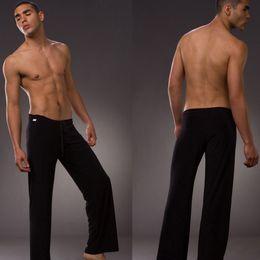 mens full length yoga pants 2019 - Wholesale-Brand Mens Sleepwear trousers male sports Yoga panties breathable lounge casual pants pajama pants quick-dryin