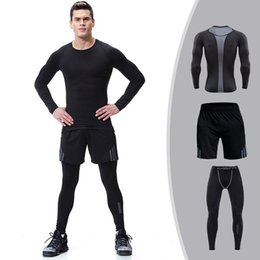 $enCountryForm.capitalKeyWord Australia - 3 Piece Men Compression Set Sports Jogging Suit For Male Rashguard Mma Gym Workout Clothes Running Training Sportswear 2019 SH190717