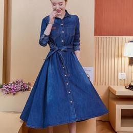 59d050bb8b ladies plus size denim dresses 2019 - Women Fashion jeans Dress long sleeve  Slim Denim Dress