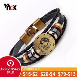 "$enCountryForm.capitalKeyWord NZ - Vnox 12 Constellation Hematite Magnetic Beaded Charm Bracelet for Men Brown Multi Layer Leather Male Jewelry 8"""