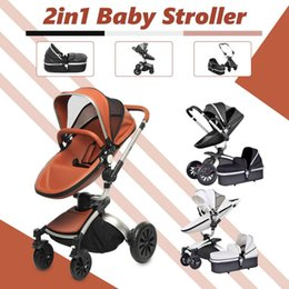 $enCountryForm.capitalKeyWord Australia - Baby Stroller 2 in 1 Leather Carriage Infant Travel Car Foldable Pram Pushchair