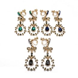 Clip Charms Free Shipping Australia - Free Shipping Sweet Bow Charm Teardrop Green Blue Gray Stones Alloy Elegant Design Clip Earring For Women
