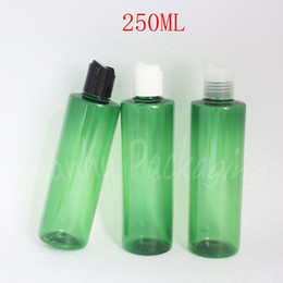 bottle shampoo UK - 250ML Green Plastic Bottle With Disc Top Cap , 250CC Shampoo   Lotion Packaging Bottle , Empty Cosmetic Container ( 20 PC Lot )