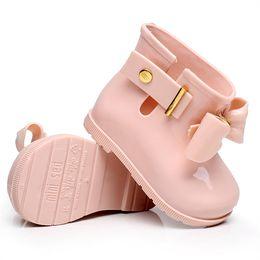 Мини-Мелисса 2019 Новые мини-детские желейные с бантиком от дождя Сапоги противоскользящие Водонепроницаемые ботинки с резиновой подошвой