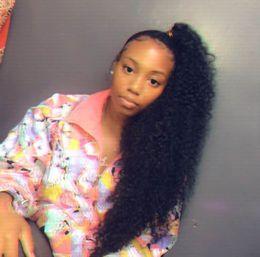Hairpiece For Ponytail Australia - 160g Long jet black ponytail drawstring human hair clip in black hair ponytail hairstyle easy style hairpiece for black women