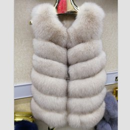 Wholesale blue fox vest for sale - Group buy 2019 women s natural real blue fox fur vest waistcoat gilet coat jacket sleeveless thick warm winter long genuine luxury long T191204