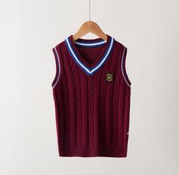 Venta al por mayor de Diseñador niño Estilos Jersey tipo chaleco británicas niños suéteres de moda de lujo de los puentes de muy buen gusto del chaleco Hombres Mujeres chalecos más el tamaño 2020 Nuevo