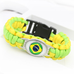 Brazil Flag Bracelets Australia - Women Men Green Yellow Umbrella Rope Cuff Bracelet Unique Glass Cabochon Brazil National Flag Outdoor Camping Survival Paracord Wrap Jewelry