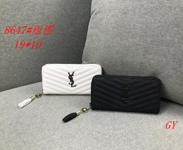 Discount ladies branded handbags cheap - wholesale 2019 famous brand fashion single zipper cheap luxury designer women pu leather wallet lady ladies long purse L