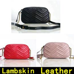 Lock chain bag online shopping - Camera Bag Lambskin Handbags High Quality Designer Handbags Famous Original Genuine Leather Shoulder Bags Come with BOX