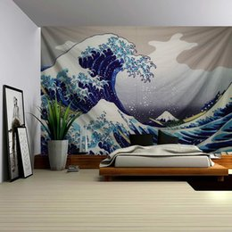 decorative wall curtains Australia - Kanagawa Surf Tapestry Wall Hanging Decorative Cloth Fresco Background Wall Adornment Bedroom Curtain Fabric Wall Painting Y200324
