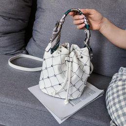 Scarfs Cotton Australia - Manufacturers wholesale fashion silk scarf shoulder bag 2019 new Korean version of the rivet slanting bucket bag casual handbag