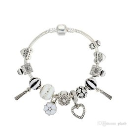 $enCountryForm.capitalKeyWord Australia - Women's White Murano Charm Bracelets silver 3mm Snake Chain Heart Pendant Bracelet with logo for Women