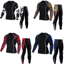sport traning UK - man running set compression tights shirt t shirt sport men sportsuits thermo underwear gym fitness traning mma rash guard #78111