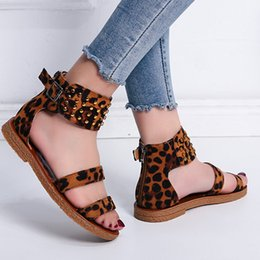 Brands Sandals Australia - Brand Vintage Large Size 42 Leisure Leopard Sandals Flat Summer Casual Women Shoes Retro Rivets Gladiator Sandals Woman 2019