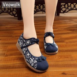 $enCountryForm.capitalKeyWord Australia - Veowalk Chinese Knot Women's Canvas Flats Retro Ladies Casual Ankle Strap Floral Printed Denim Cotton Fabric Platform