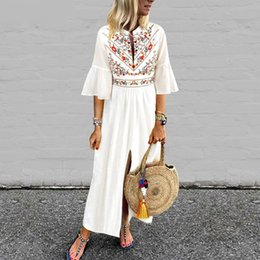 $enCountryForm.capitalKeyWord Australia - Bohemian Women Vintage Print Dress 2019 Vonda Sexy V Neck Ruffle Sleeve Split Maxi Long Dresses Plus Size Casual Loose Vestidos