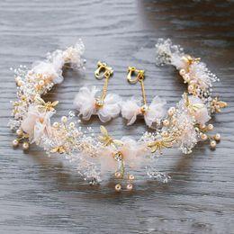 Imitation Pearl Jewelry Sets Australia - Handmade Cloth Flower Drop Earrings Cute Alloy Dragonfly Imitation Pearl Garland Headband Women Romantic Wedding Jewelry Sets Accessories