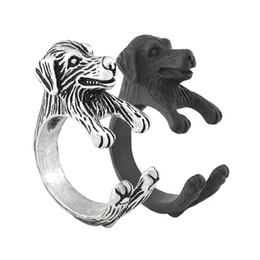 wholesale dog lover gifts NZ - Vintage Silver Black Cute Golden Retriever Dog Ring Man Anel Boho Chic Animal Rings For Woman Girls Jewelry Baby Gift For Pet Lover Bulk