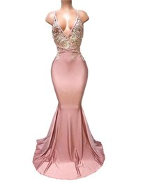 $enCountryForm.capitalKeyWord UK - Dusty Pink Spaghetti Mermaid Prom Dresses Appliques Beaded Long Party Gowns Sexy Backless Satin Formal Dress vestido de feata