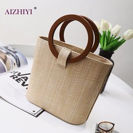 Handmade sHopping bags online shopping - Women Handmade Straw Round Handle Handbag Casual Wooden Shoulder Bags Lady luxury Beach Vacation Shopping Tote Crossbody