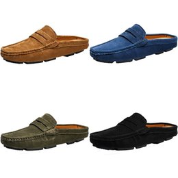 summer loafers for men Canada - Man Genuine Leather Loafers Summer Male Moccasins For Men Casual Shoes Soft Masculino Breathable Mens Half Slipper Flock Flats