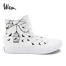 20e24e55442cbb Wen Canvas Casual Flats White Women Design Bird Cage Hand Painted Shoes  Custom Strappy High Top Men Sneakers Outdoor Espadrilles  194899
