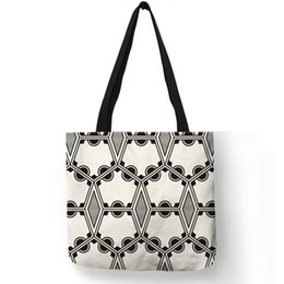 Discount exquisite ladies handbags - Exquisite Classic Black White Geometry Pattern Handbag For Ladies Daily Office Useful Storage Tote Bag Practical Linen B