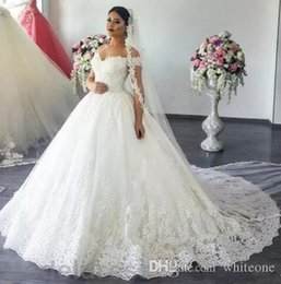Appliques Style Wedding Dresses NZ - 2018 New Styles A-Line Wedding Dresses Off Shoulder Sweep Train lace Appliques Garden Chapel Bridal Gowns Arabic vestido de novia Plus Size