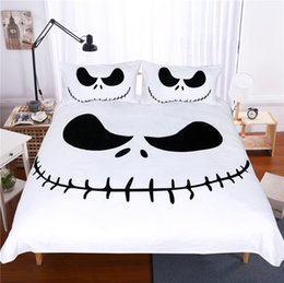 rose white cover Australia - Lai Yin Sun Bedding Set Black and White Nightmare Before Christmas Cool Printed Bed Linen Soft Duvet Cover with Pillow Case CY200519