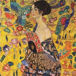 $enCountryForm.capitalKeyWord NZ - Framed Handpainted Classical Abstract Art Oil Painting Gustav Klimt - Lady With Fan On Canvas.High Quality wall Art Home Decor p257