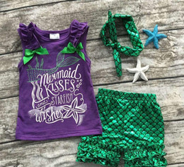 $enCountryForm.capitalKeyWord Australia - Girls clothes purple green scale mermaid boutique short sets starfish kids Summer sleeveless clothes clothing with bow set