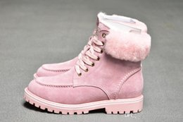 fur snow boots wide calf Australia - Sheepskin fur Half Boots WGG 2020 Winter laceup Snow Solid Leather outdoor Womens girl half Boots Ankle boots Black Grey Pink shoes