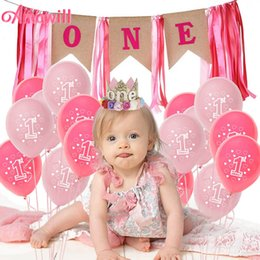 First Birthday Party Decorations NZ - Amawill Pink Girl First Birthday Party Decor Foil Balloons 1st Birthday Party Decorations Kids 1 Year Festival Supplies 7D
