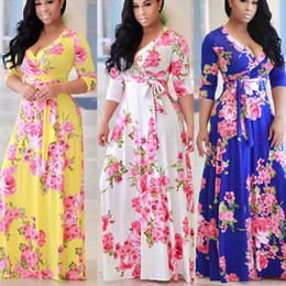 long sleeve maxi dresses Australia - Women's Fashion Bohemian Party Dress Short Sleeve Floral Print Deep V-neck Maxi Dress Beach Dress Vintage Plus Size(S-5XL))