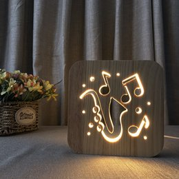 Usb Powered Christmas Lights Australia - 3D Wooden Sax Shape Lamp Hollowed-out LED Night Light Warm White Night Lamp USB Power Supply as Friend's Gift