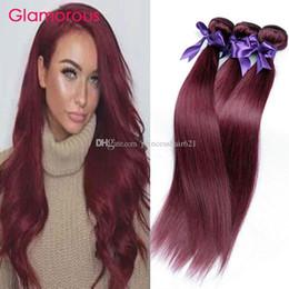 Discount inch straight burgundy hair weave - Glamorous Malaysian Human Hair Body Wave Straight 3Pcs Bundles Deal Burgundy Human Hair Weave Peruvain Indian Brazilian