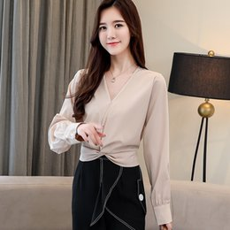 99a2ddd4b2051 Fashion woman blouses 2019 spring V-neck long-sleeve chiffon women shirts  sexy and elegant style office Lady clothing 1986 50